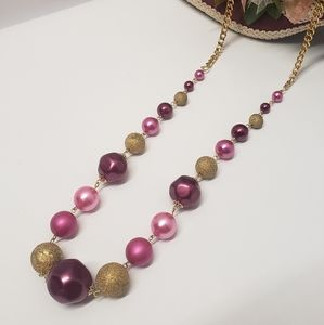Amazing Vintage Pink & Gold Statement Necklace